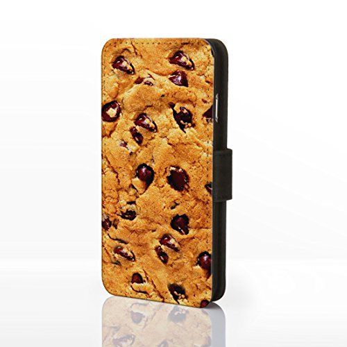 Sweet Shop Collection Schutzhülle zum Aufklappen, aus Kunstleder, für iPhone-Modelle Motiv: Süßigkeiten, klassisches Vintage-Design; Schokolade, Kekse & Eis, Kunstleder, Design 16: Pink Wafer, iPhone  Design 13: Choc Chip Cookie