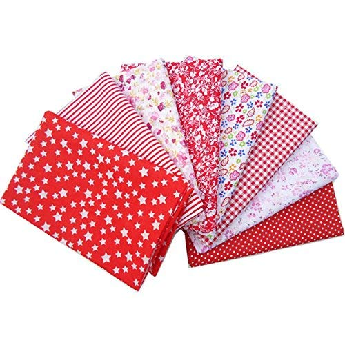 King do way 8 pezzi di tessuti stampati in cotone per cucito, stoffa rossa per diy/artigiano/fatti a mano, tessuti patchwork quadrati da cucito 50x50cm