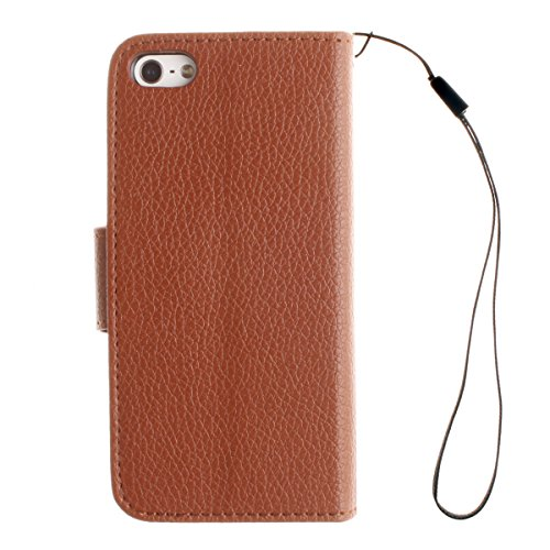 iPhone 5S Coque, iPhone SE Coque, Lifeturt [ Marine ] [book-style] Flip Case Coque en PU Cuir Housse de Protection Étui à rabat Case Cover Ultra Slim Portefeuille PU Cuir avec stand de Carte Slots Sup E02-Marron698