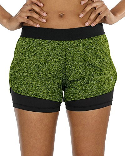icyzone Damen Sportshort Funktions-Sport Hot Pants Fitness Yoga Kurze Hosen Sporthose Trainingshose Jogginhose 2 in 1 (L, Green Heather)