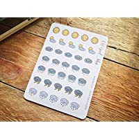 Weather Planner Stickers, Hand drawn Kawaii Icon Weather Stickers, Small Bujo Stickers, Cute Snow, Sun, Cloud Stickers