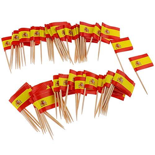 Xiton 100Pcs Mini Flag Zahnstocher Spanien-Flaggen-Kuchen Auswahl Internationale Events Cocktail-Stock-Flagge Obst Lebensmittel Auswahl