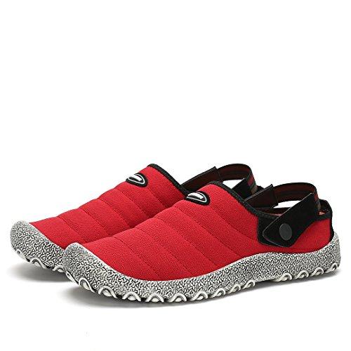 Maniamixx Uomo Scarpe Da Donna Casual Scarpe Da Passeggio Scivolare Su Scarpe Da Giardino In Tela Pantofole Per Il Tempo Libero Unisex Scarpe Di Tela Antiscivolo Rosso
