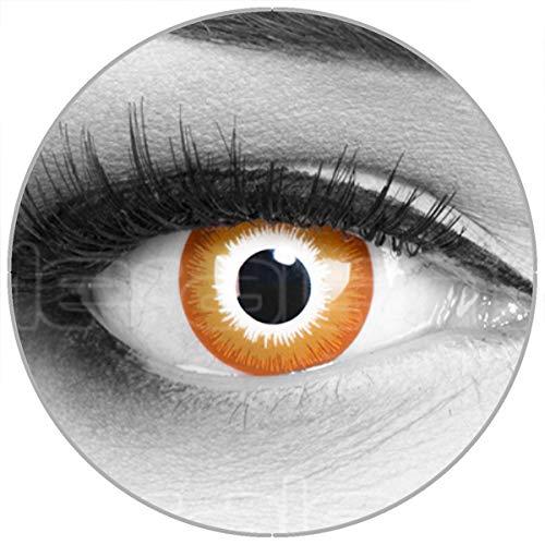Farbige rote rot 'Red Sun' Kontaktlinsen ohne Stärke 1 Paar Crazy Fun Kontaktlinsen mit Kombilösung (60ml) + Behälter zu Fasching Karneval Halloween - Topqualität von (Red Wolf Kostüm Kontaktlinsen)