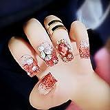 Bridalvenus 24 Pcs False Nail Vintage Chic Ruby Glossy - Fake Nail Full Nail Tips Finger Decoration with Rhinestones Nail strips with Glue and Adhesive Tab for women and girls