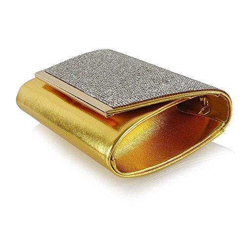 ESSEX GLAM Donna Diamante Nuziale Sintetico Partito Borsa a Frizione Oro metallizzato Las Labores De Saneamiento En Línea Oficial Recomendar Línea upfy8SfYK