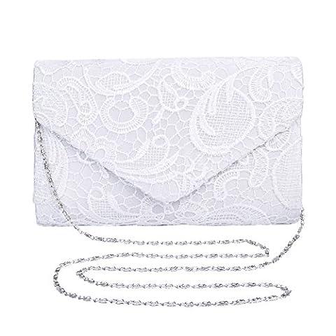 Mesdames satin dentelle Pochette chaîne épaule Femmes de soirée de mariage élégant,Sac Pour Soirée Pochette Elégante (Blanc)