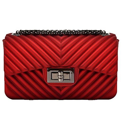 Neue Kleine Tasche Matt Jelly Bag Mini Matt Diamant Schloss Kette Tasche Mode Handtasche,Burgundy-OneSize