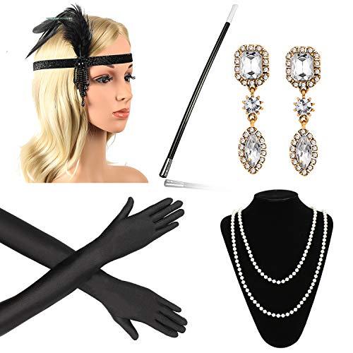 Beelittle anni '20 accessori set fascia, collana, guanti, portasigarette grandi costumi gatsby per donna (g8)