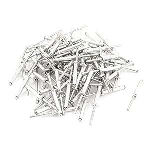 100 pièces 5mm x 30mm Ouvert Fin Tête En Dome Aluminium Store Pop Rivets 9mm