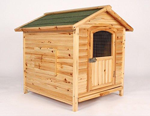 Dog Kennel Pet House Outdoor Solid Wood Hinged Waterproof Roof Lockable Door
