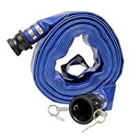 "Bob's Industrial Supply BISupply Lay Flat Hose 2"" Inch x 50' Foot Flat Discharge Hose & Poly Cam Lock - PVC Pool Hose Heavy Duty Backwash Hose 29"