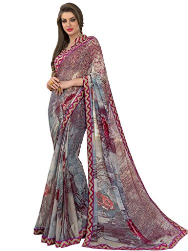 Sarees (Vastrang Sarees Women\'s Multi Color Beautiful Printed Pure Georgette Designer Party wear printed Saree with Art Silk Print Lace Border & same Border Matching Printed Art Silk Blouse_VS5151315