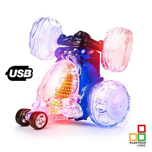 Playtech Logic - Luz de Control Remoto para niños con Sonido de Encendido/Apagado, Recargable, Turbo Twister Racing RC Stunt Cars Boys Girls Toys, Color al Azar