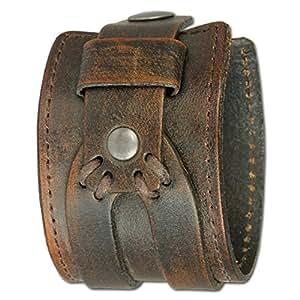 Bracelet Cuir Homme Force Manchette Brun Marron Antique