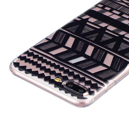 CaseHome iPhone 7 Plus 5.5'' Durchsichtig Silikon TPU Hülle Elegantes Stilvoll Hübsches Muster Druckte Entwurf (Mit freiem HD Schirm-Schutz) Gummi Silikongel Retro Klassiker Stoßstange Weicher Stoßdäm Tribal Streifen