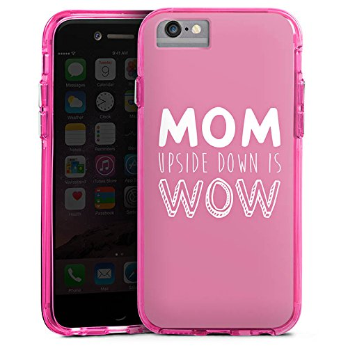 Apple iPhone 7 Bumper Hülle Bumper Case Glitzer Hülle Mom Mum Phrase Bumper Case transparent pink