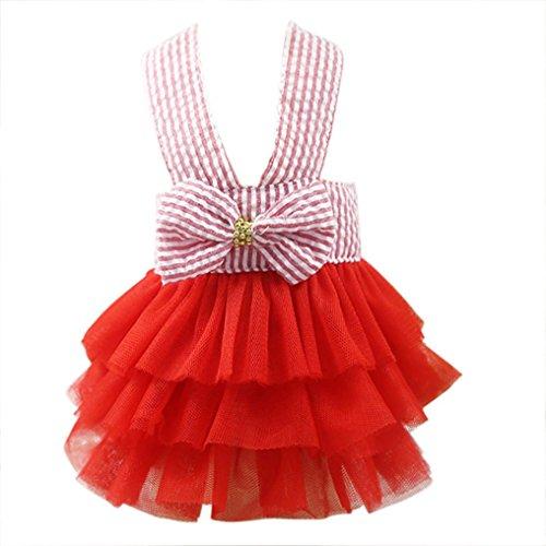 zolimx Ropa de Mascotas, Verano Falda de Rayas de Encaje de Princesa Vestidos de Perro (Rojo, S)