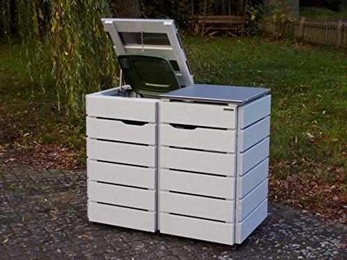 2er Mülltonnenbox 120 L, Holz / Edelstahl – Deckel, Douglasie Natur - 2