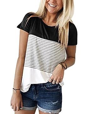 Luxspire Blusas Camiseta Para Mujer, Camisa de Manga Corta de Rayas Casual en Oferta Suelto Tops Elegantes de...