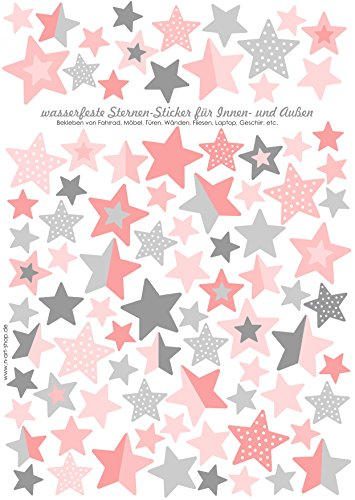 Sterne Fahrraudaufkleber Fahrradsticker für Kinder von Jabalou Sticker Aufkleber (Rosa-Grau)