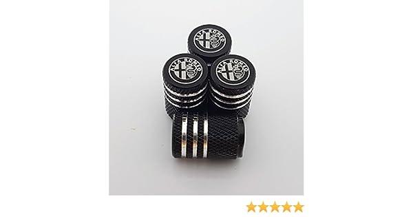 Speed Demons Bouchons de Protection Alfa Romeo Noir en Alliage Roue Voiture Pneu Valve s/'Adapter Tous Les Laser mod/èles grav/ées
