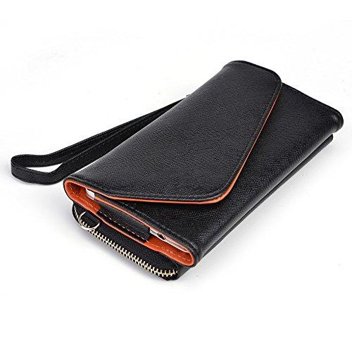 Kroo d'embrayage portefeuille avec dragonne et sangle bandoulière pour Blu Life One Black and Green Black and Orange