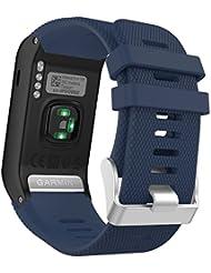 MoKo vívoactive HR Sport Armband - Silikon Ersatz-Uhrenarmband Uhrenarmband Einstellbar Armband Replacement Wechselarmband watch band für Garmin vívoactive HR Sport GPS-Smartwatch, Mitternachtsblau