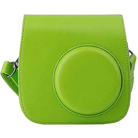 [Fujifilm Instax Mini 8/ Mini 9 Tasche] - ZWOOS Reise Kameratasche Gehäuse Taschen mit Schultergurt/Weinlese PU Leder für Fujifilm Instax Mini 8/ Mini 8S/ Mini 9 Tasche(Lime Green)