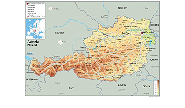 Svizzera Cartina Geografica Politica.Austria Mappa Fisica Carta Plastificata A1 Size 59 4 X 84 1 Cm Amazon It Cancelleria E Prodotti Per Ufficio