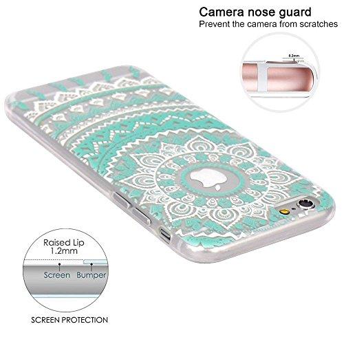 iPhone 7 Plus Case / iPhone 8 Plus Case, Walmark Beautiful Clear TPU Soft Case Rubber Silicone Skin Cover for iPhone 7 Plus / iPhone 8 Plus 5.5 inch - Dark Mint White Tribal Mandala