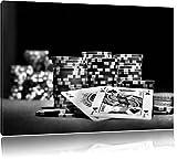 Monocrome, tavolo da poker con le carte in Las Vegas, Dimensioni: 80x60 su tela, XXL Immagini enormi completamente Pagina con la barella, la stampa arte murale con telaio meno costoso di pittura o pittura ad olio, nessun manifesto o poster