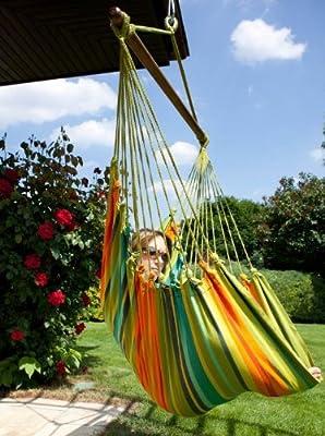 Hängestuhl Cayo Grande Verde - original Südamerika Baumwolle grün von MacaMex auf Gartenmöbel von Du und Dein Garten