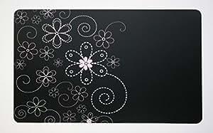 Sous-main avec fleurs noir/fleurs 40 x 60 cm, effaçable