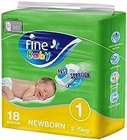 فاين بيبي سريعة الامتصاص، مقاس 1، المولود الجديد، 2-5 كغ، 18 حفاض