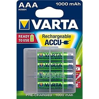 Varta Rechargeable Ready2Use vorgeladener AAA Micro1000mAh Ni-Mh Akku - 4-er Pack - wiederaufladbar ohne Memory-Effekt - sofort einsatzbereit, inklusive Aufbewahrungsbox