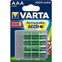 Varta Rechargeable Ready To Use vorgeladener Micro NiMh Akku (AAA, 1000 mAh, 4er Pack, wiederaufladbar ohne Memory-Effekt - sofort einsatzbereit, inklusive Aufbewahrungsbox)