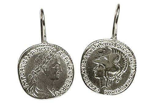 SILBERMOOS Damen Ohrhänger römische Münze Caesar antik rund glänzend 925 Sterling Silber...