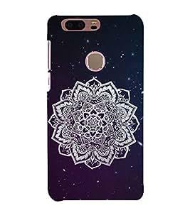 FUSON Ornamental Round Damask Stars 3D Hard Polycarbonate Designer Back Case Cover for Huawei Honor 8