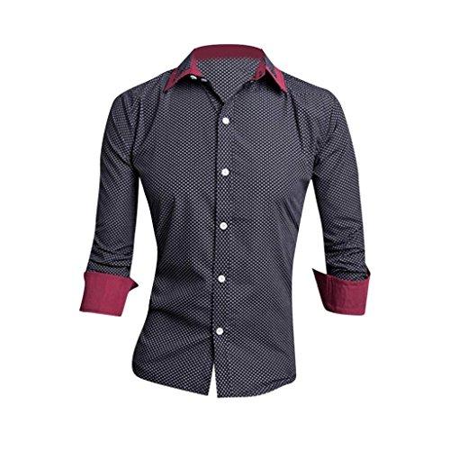 Jeansian Hommes Chemise Manches Longues Des Affaires Slim Fit Trend Fashion Mens Shirt 8655 Black