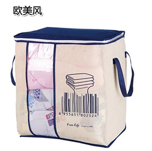 KCNCKSL Non-Woven Tragbare Kleidung Aufbewahrungstasche Organizer 45,5 * 51 * 29 cm Folding Closet Organizer für Kissen Quilt Decke Bettwäsche Western Style (Quadrat Bett In Einem Beutel)