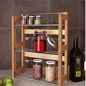 3 Tier Bamboo Kitchen Spice Jars Rack Holder Shelves
