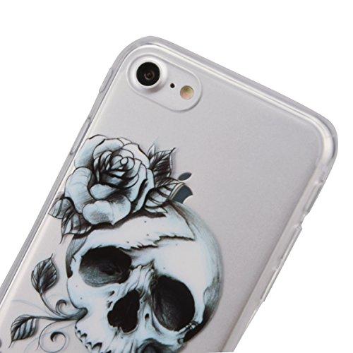 """VemMore Coque pour iPhone 7 4.7"""" Transparente avec Motif Ultra Fine Slim Silicone Gel Bumper TPU Souple Etui Housse Case Cover pour iPhone 7 - Attrape Reve Tete de Mort"""