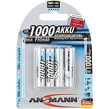 ANSMANN wiederaufladbar Akku Batterie Micro AAA Typ 1000mAh NiMH hochkapazitiv Hohe Kapazität ohne Memory-Effekt Profi Digital Kamera-Akkubatterie 4er Pack