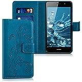 kwmobile Funda para Huawei Y6 (2015) - Wallet Case plegable de cuero sintético - Cover con tapa tarjetero y soporte Diseño hiedra mariposa en azul oscuro