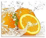 Artland Design Spritzschutz Küche I Alu Küchenrückwand Herd Obst Foto G3IP Orange mit Spritzwasser