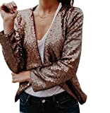 Sentao Damen Jacken Elegant Herbst Jacke Festlich Langarm Vintage Blazer Casual Mit Pailletten Mantel (Gold, Asia 2XL)