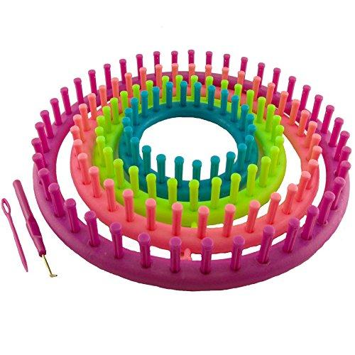 K7plus® 6 tlg. Strickring Set Strickrahmen - Knitting Loom – Strickliesel – Haken – gebogene Nadel - 4 Strickrahmen (29 cm + 24 cm + 19 cm +14 cm) mit Zubehör und Anleitung Kind Knitting Loom