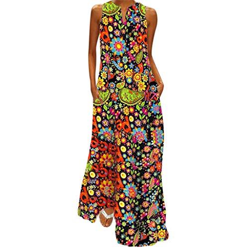 Zegeey Damen Kleid Retro ÄRmellos V-Ausschnitt BöHmen Blumen Drucken Sommer Maxikleid Sommerkleider Blusenkleid Strandkleider Rockabilly Kleid Festlich Geschenk(A1-Schwarz,EU-36/CN-M)
