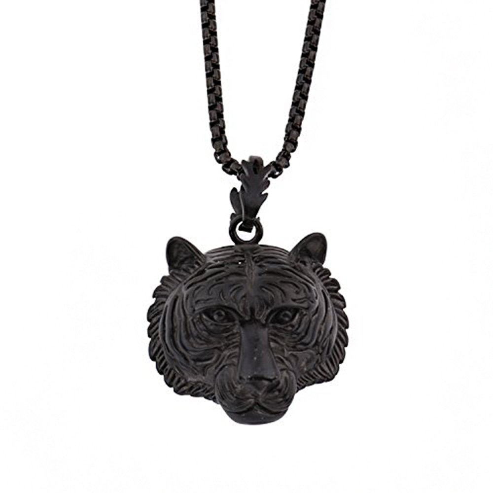 MCSAYS 18k Gold Sterling Silver Tiger Head Hip Hop Pendant Necklace Stainless Steel